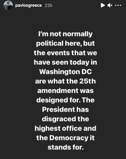 Prince Pavlos admitted that he's 'not normally political' in public. Photo: Instagram/pavlosgreece.