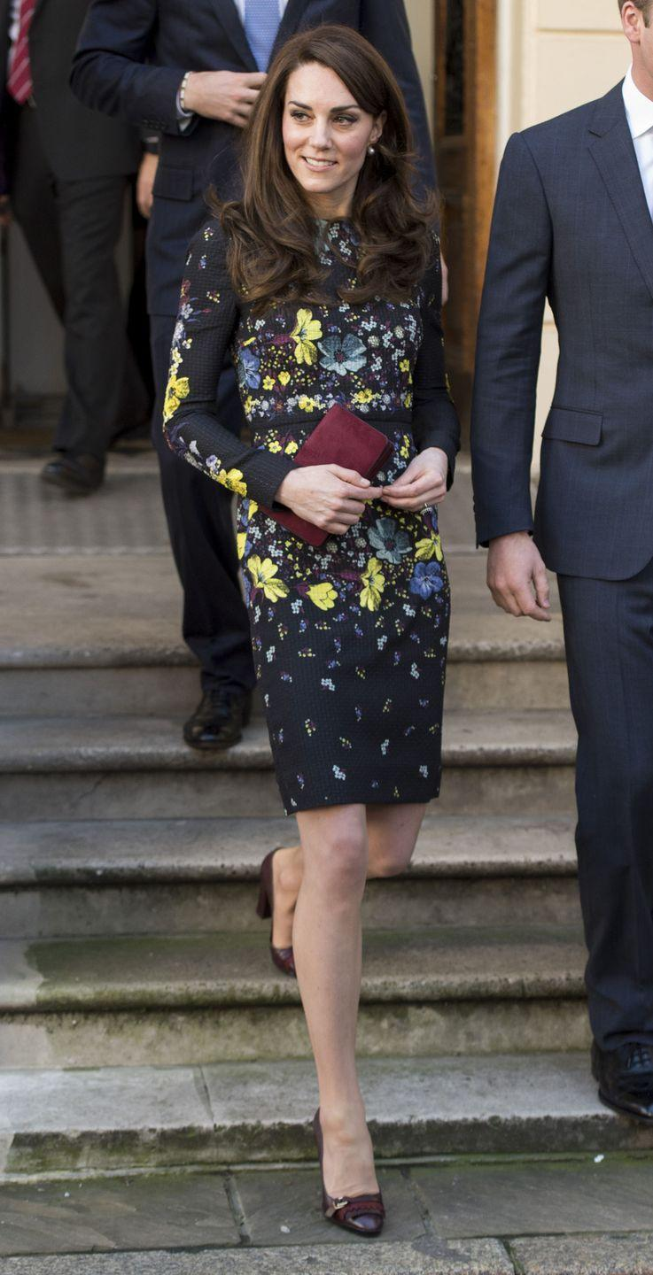<p>Here, Kate was attending a briefing to announce plans for the Heads Together charity in 2017. She paired her dress featuring moody florals with burgundy accessories.</p>