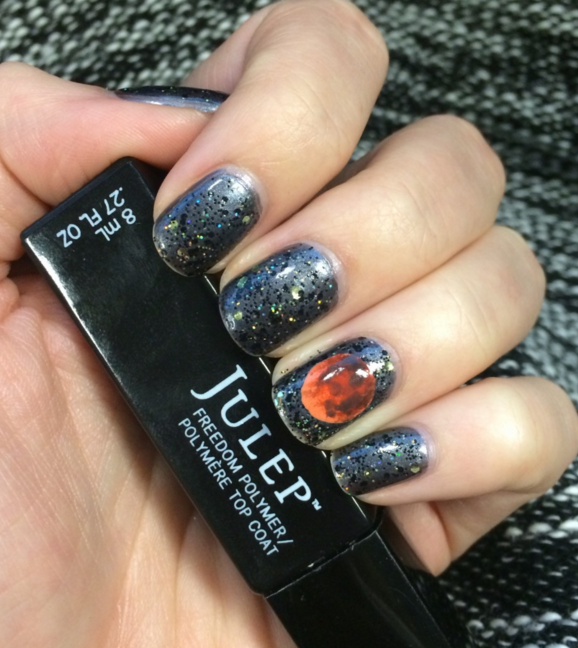 "<p>You know what's even cooler than a blood moon? Blood moon manicures! It's a little tricky, but with a steady hand and some practice, this gorgeous design will be your go-to nail art pick come October. </p><p><a class=""link rapid-noclick-resp"" href=""https://www.amazon.com/ILNP-Varsity-Jacket-Metallic-Holographic/dp/B01NBHRYKY/ref=sr_1_2_s_it?tag=syn-yahoo-20&ascsubtag=%5Bartid%7C10055.g.1421%5Bsrc%7Cyahoo-us"" rel=""nofollow noopener"" target=""_blank"" data-ylk=""slk:SHOP METALLIC NAIL POLISH"">SHOP METALLIC NAIL POLISH</a> </p>"