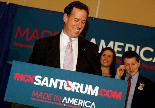 Republican presidential candidate Rick Santorum addresses supporters after winning both the Alabama and Mississippi primaries. Santorum surged to two startling, come-from-behind wins in the deep South, in a dramatic shakeup in the Republican presidential battle