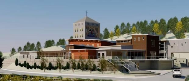 An artist's rendering of the 74,000 square foot redevelopment of the Mount Carmel Spiritual Centre, featuring a new church and underground parking.