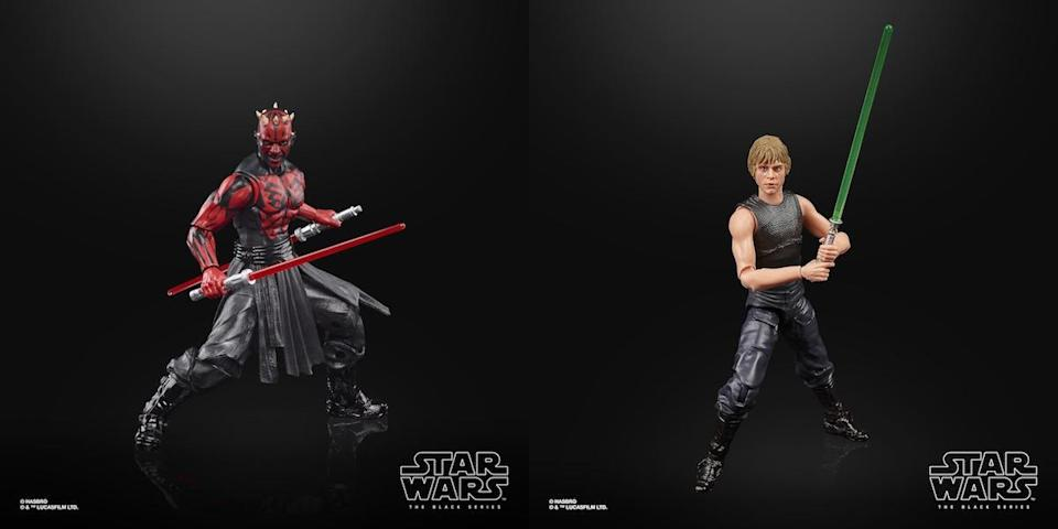 Two Star Wars Hasbro Black Series figures, a shirtless Darth Maul with lightsabers, and Luke Skywalker in black clothes holding a lightsaber