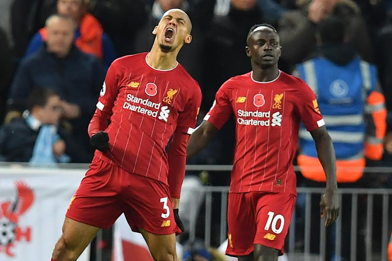 Fabinho (3) lets out a roar of celebration after scoring against Manchester City during Liverpool's 3-1 win on Sunday. (Photo by PAUL ELLIS/AFP via Getty Images)