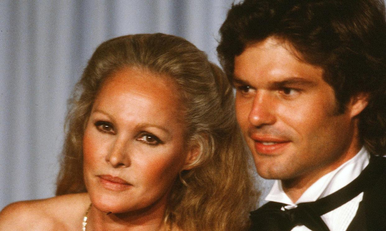 Ursula Andress and Harry Hamlin at the 54th Academy Awards in 1982. The couple met on the set of the 1981 film 'Clash of the Titans' (Photo by Michael Montfort/Michael Ochs Archives/Getty Images)