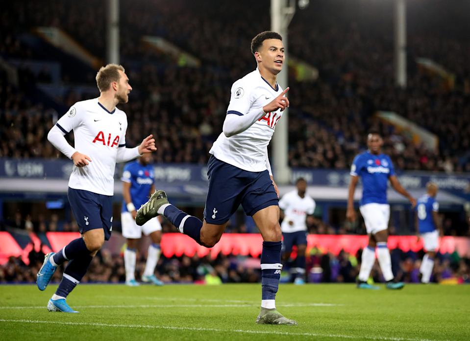 Tottenham Hotspur's Dele Alli celebrates scoring his side's first goal of the game during the Premier League match at Goodison Park, Liverpool. (Photo by Nick Potts/PA Images via Getty Images)