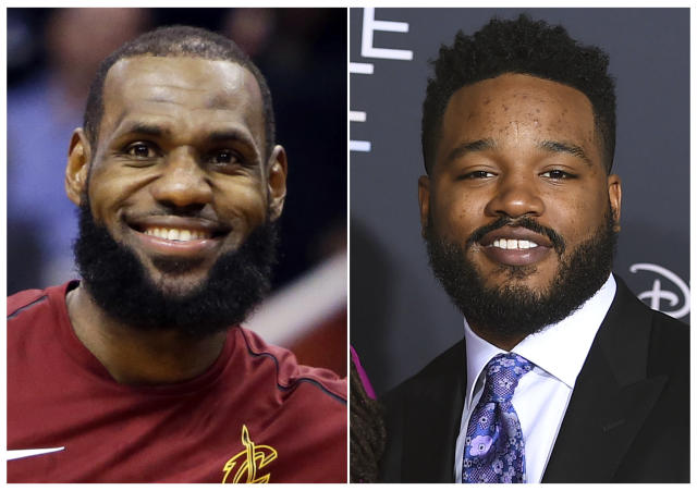 """<a class=""""link rapid-noclick-resp"""" href=""""/nba/players/3704/"""" data-ylk=""""slk:LeBron James"""">LeBron James</a>' production company SpringHill Entertainment tweeted that filmmaker Ryan Coogler (right) will produce a James-led """"Space Jam"""" movie. (AP)"""