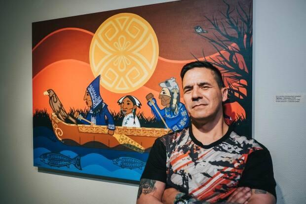 The City of Fredericton has commissioned Percy Sacobie to create a piece of art that will be mounted on the wall of the Fredericton International Airport's departure lounge. (Logan Perley/CBC - image credit)