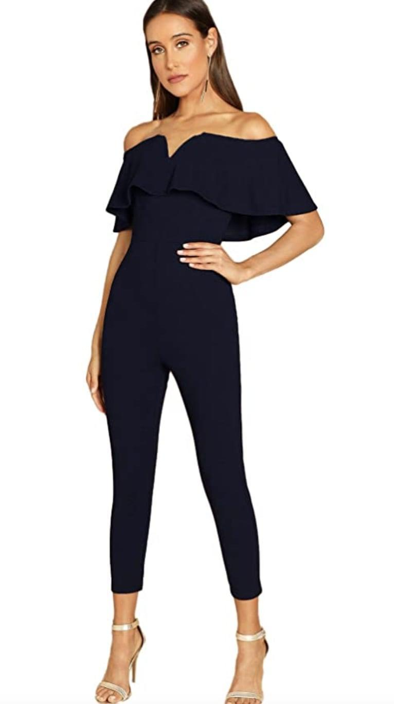 <p>This flirty <span>Verdusa Off-Shoulder Jumpsuit</span> ($38-$40) will definitely get your date's attention at the next dinner. From the neckline to the elongating silhouette, it instantly turns your look into a head turner.</p>