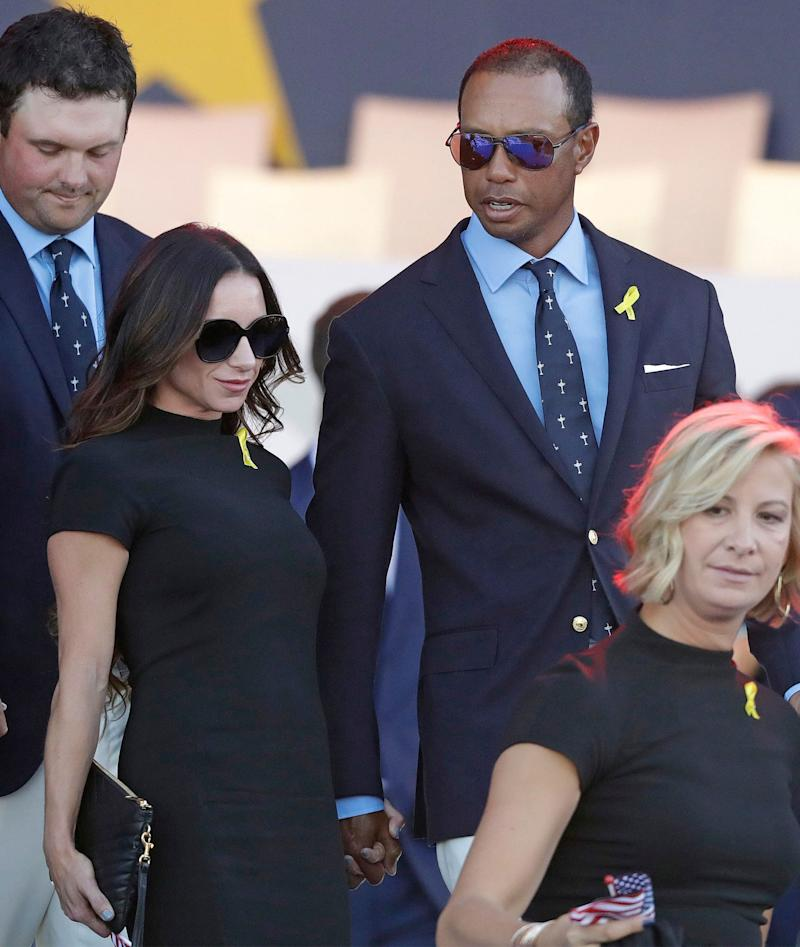 e91b5d921 Tiger Woods and Girlfriend Erica Herman Walk Hand-in-Hand at 2018 Ryder Cup  Opening Ceremony