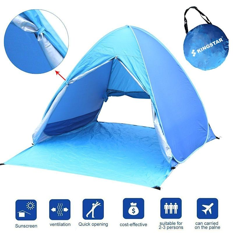 "Get the KIngstar portable beach tent <a href=""https://www.amazon.com/Kingstar-Waterproof-Automatic-Backpacking-Ultralight/dp/B06XDLVVJG/ref=sr_1_5?s=outdoor-recreation&ie=UTF8&qid=1520954428&sr=1-5&keywords=beach+tent"" target=""_blank"">here</a>."