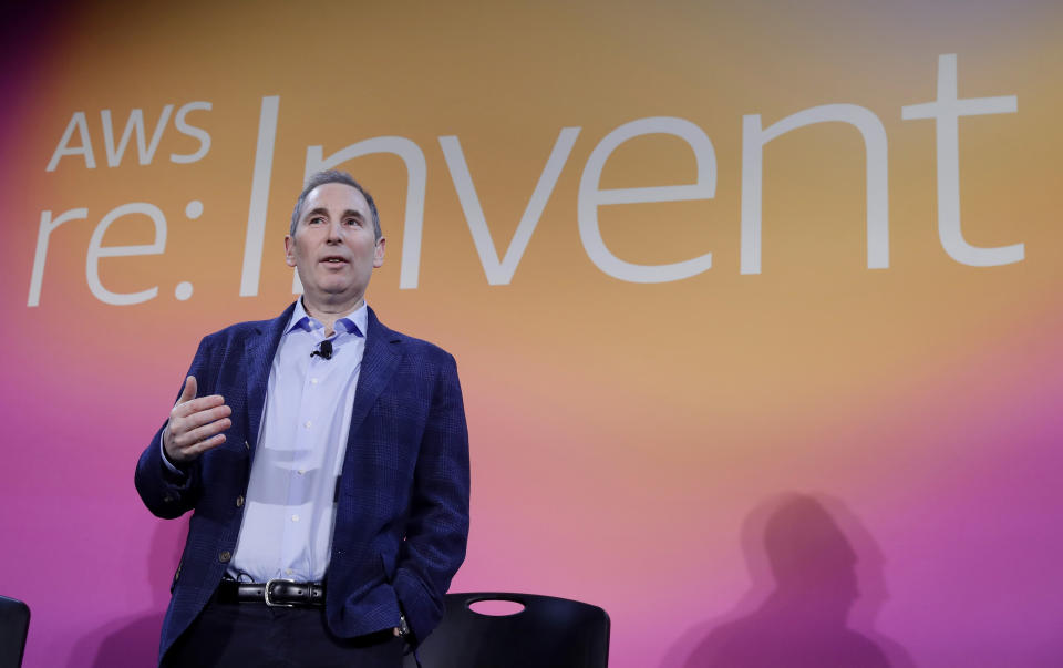 FILE - In this Dec. 5, 2019, file photo, AWS CEO Andy Jassy, discusses a new initiative with the NFL during AWS re:Invent 2019 in Las Vegas. Amazon announced Tuesday, Feb. 2, 2021, that Jeff Bezos would step down as CEO later in the year, leaving a role he's had since founding the company nearly 30 years ago. Amazon says Bezos will be replaced in the summer by Jassy, who runs Amazon's cloud business. (Isaac Brekken/AP Images for NFL, File)