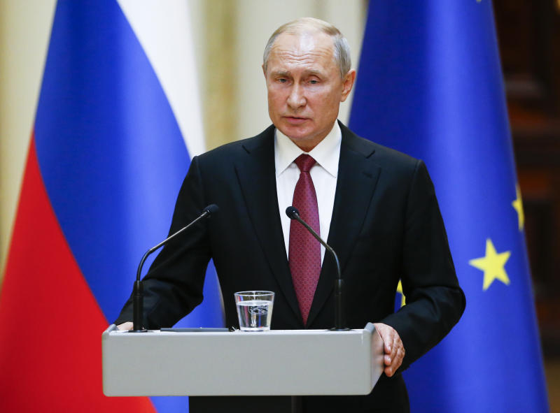 Russian President Vladimir Putin speak during a news conference after his meeting with President of the Republic of Finland Sauli Niinisto at the President's official residence Mantyniemi in Helsinki, Finland, Wednesday, Aug. 21, 2019. (AP Photo/Alexander Zemlianichenko, Pool)