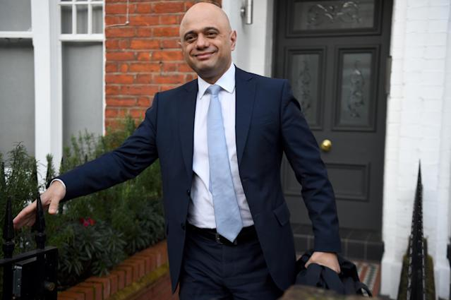 Sajid Javid leaves his London home on Friday morning (PA)