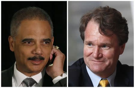 A combination of file photos shows U.S. Attorney General Eric Holder in Washington and Bank of America Chief Executive Brian Moynihan