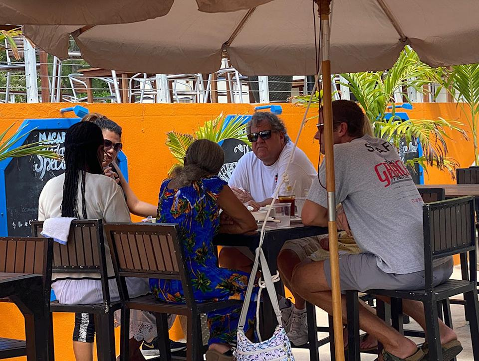 EXCLUSIVE: Armie Hammer is spotted at a restaurant in the Cayman Islands for the first time since allegations of sexual assault and cannibalistic fantasies we re made against him earlier this year. The actor  has changed his look considerably since we saw him last, having gotten a short crewcut and seemingly put on a few pounds. Spotted with two older people at lunch, along 3 other females – all appeared to be nothing more than friends. According to an eyewitness who was also eating at the Macaboca,