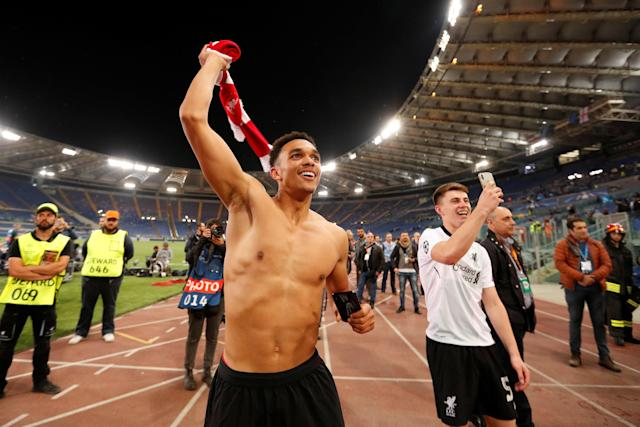 Soccer Football - Champions League Semi Final Second Leg - AS Roma v Liverpool - Stadio Olimpico, Rome, Italy - May 2, 2018 Liverpool's Trent Alexander-Arnold and Ben Woodburn celebrate after the match Action Images via Reuters/John Sibley