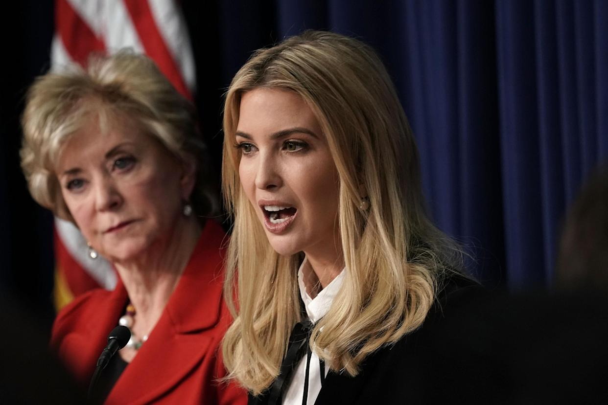 Ivanka Trump (R), Adviser and daughter of President Donald Trump, speaks as U.S. Small Business Administration Administrator Linda McMahon (L) listens. (Photo by Alex Wong/Getty Images)