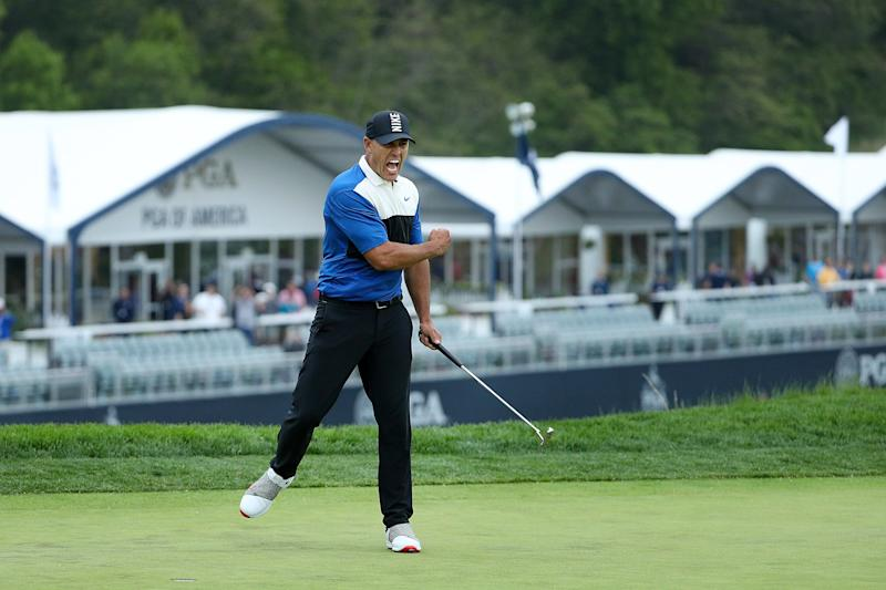 FARMINGDALE, NEW YORK - MAY 19: Brooks Koepka of the United States reacts after putting in to win on the 18th green during the final round of the 2019 PGA Championship at the Bethpage Black course on May 19, 2019 in Farmingdale, New York. (Photo by Patrick Smith/Getty Images)
