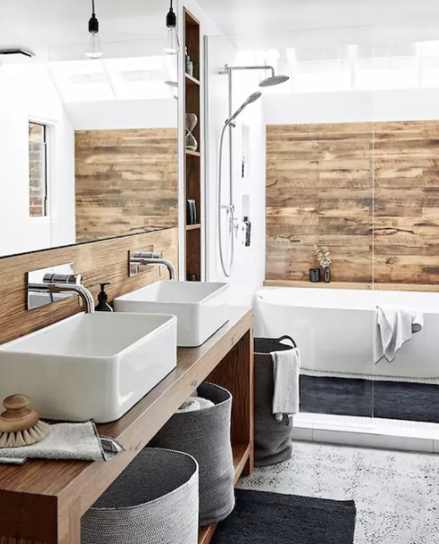 The recently redesigned bathroom features polished concrete floors and bench tops - just beautiful.