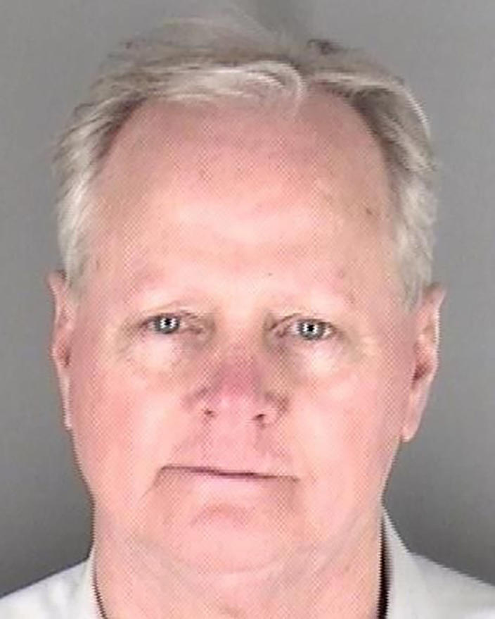 This photo provided by the Shawnee County Jail in Topeka, Kan., shows Kansas Senate Majority Leader Gene Suellentrop, R-Wichita, after being booked for an arrest, Tuesday, March 16, 2021, in Topeka, Kan. Suellentrop was arrested early Tuesday morning on suspicion of driving under the influence and attempting to flee a law enforcement officer. (Shawnee County Jail via AP).