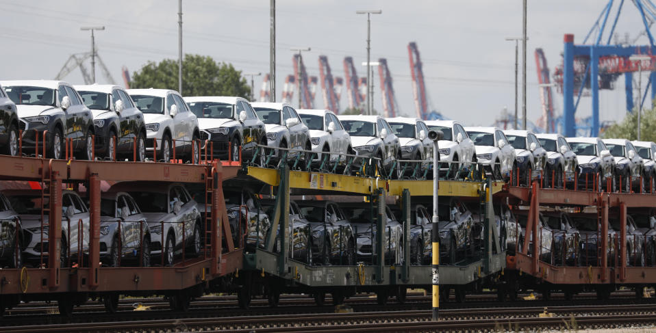 HAMBURG, GERMANY - JUNE 10: A freight train loaded with cars stands at Hamburg Port during the novel coronavirus pandemic, on June 10, 2020 in Hamburg, Germany. According to Germany's Federal Statistics Bureau Germany's total exports fell by 31% in April as compared to one year ago. Lockdown measures have since largely eased and most factories have resumed production, though supply chains remain fractured. (Photo by Morris MacMatzen/Getty Images)