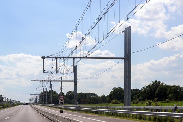 Overhead contact wires span an e-highway in Germany.