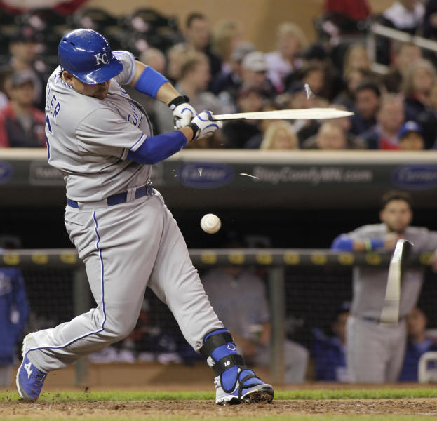 Kansas City Royals designated hitter Billy Butler (16) shatters his bat on a foul ball during the eighth inning of a baseball game against the Minnesota Twins, Friday, April 11, 2014, in Minneapolis. Minnesota won 10-1. AP Photo/Paul Battaglia)