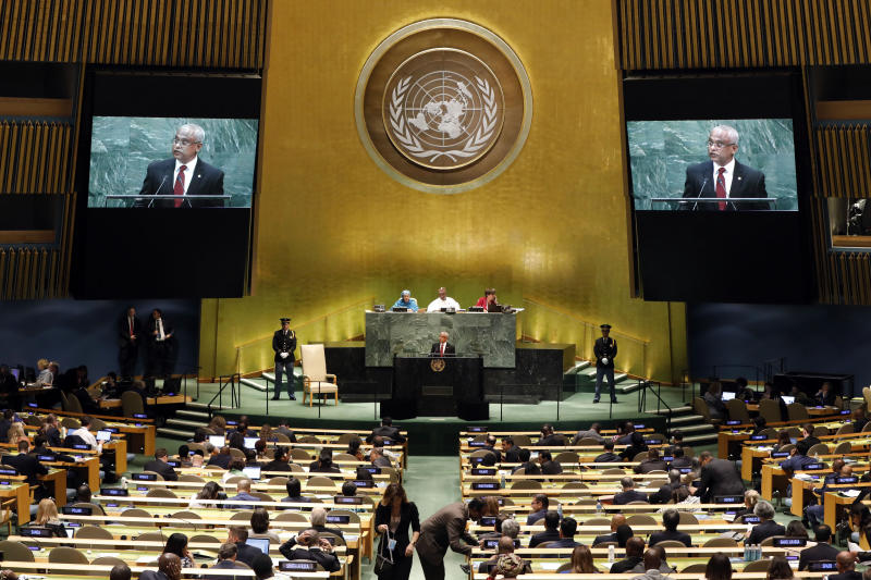Maldive's President Ibrahim Mohamed Solih addresses the 74th session of the United Nations General Assembly, Tuesday, Sept. 24, 2019. (AP Photo/Richard Drew)