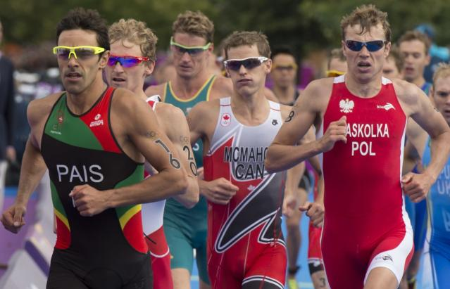Canada's Brent McMahon competes in the men's triathlon at the 2012 London Olympics, August 7, 2012. McMahon placed 27th. THE CANADIAN PRESS/HO, COC - Jason Ransom