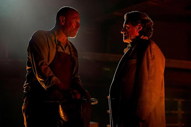 <p>Ian McShane as Mr. Wednesday, and Corbin Bernsen as Vulcan in Starz's <i>American Gods</i>.<br><br>(Photo: Starz) </p>