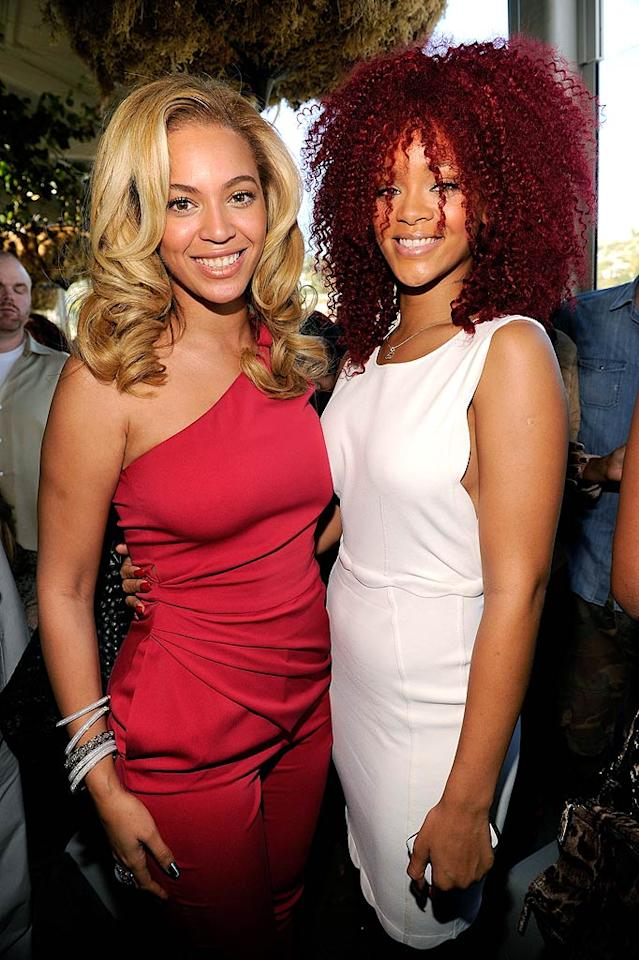 "Beyonce and Rihanna were all smiles at the Gucci and Roc Nation pre-Grammy brunch on Saturday, which was held at the trendy Soho House in West Hollywood, California. Whose hairstyle do you prefer? Bey's soft, blond curls, or RiRi's kinky, red coif? Kevin Mazur/<a href=""http://www.wireimage.com"" target=""new"">WireImage.com</a> - February 12, 2011"
