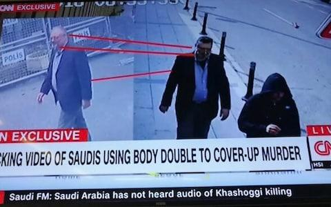 <span>CNN pictures body double Saudi had apparently employed. Man with fake beard and wearing same clothes as Khashoggi caught on CCTV leaving the consulate</span> <span>Credit: CNN </span>