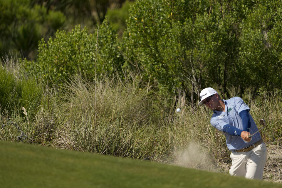 Charley Hoffman hits from the bunker on the second hole during a practice round at the PGA Championship golf tournament on the Ocean Course Tuesday, May 18, 2021, in Kiawah Island, S.C. (AP Photo/David J. Phillip)