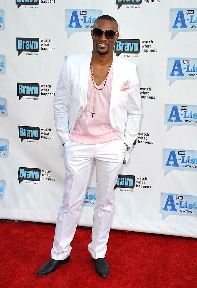 "Most men couldn't pull off a white suit with pink accents like supermodel Tyson Beckford did! Jordan Strauss/<a href=""http://www.wireimage.com"" target=""new"">WireImage.com</a> - April 5, 2009"