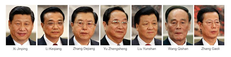 This combination of file photos from Thursday, Nov. 15, 2012, shows new members of China's Politburo Standing Committee, from left to right, Communist Party General Secretary Xi Jinping, Vice Premier Li Keqiang, Vice Premier Zhang Dejiang, Shanghai party secretary Yu Zhengsheng, propaganda chief Liu Yunshan, Vice Premier Wang Qishan, and Tianjin party secretary Zhang Gaoli, at a press event held at Beijing's Great Hall of the People. (AP Photo/Vincent Yu, Files)