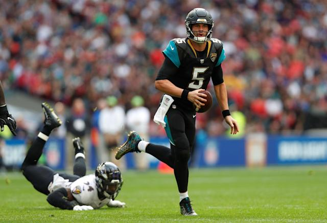 Jaguars quarterback Blake Bortles threw four touchdowns against the Ravens. (Reuters)