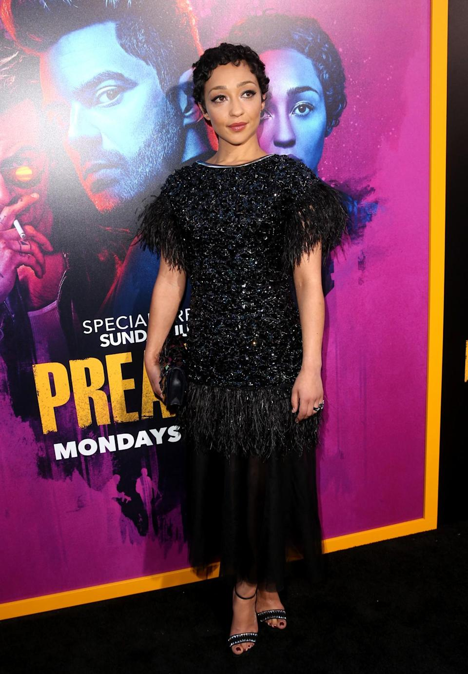 <p>The Irish actress wore a black embellished Chanel ensemble for the launch of her boyfriend Dominic Cooper's new show. <br><em>[Photo: Getty]</em> </p>