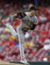 Pittsburgh Pirates starting pitcher Steven Brault (43) throws against the Cincinnati Reds during the third inning of a baseball game, Wednesday, May 29, 2019, in Cincinnati. (AP Photo/Gary Landers)