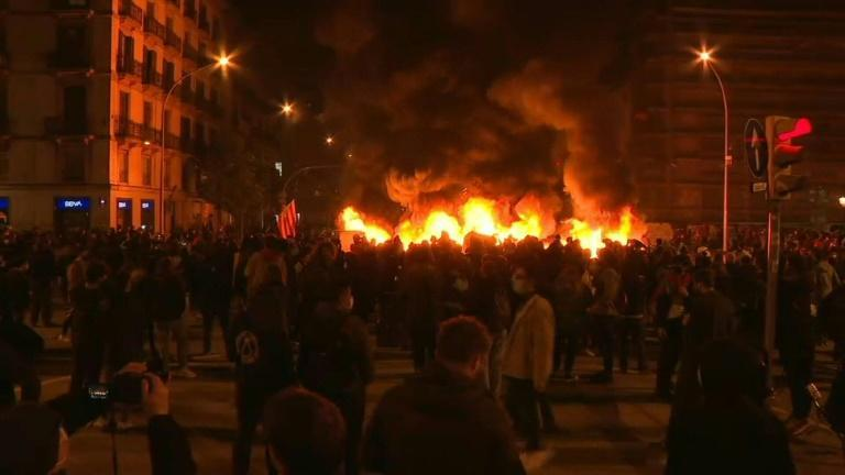 Fourth night of protests in Barcelona over jailing of rapper Pablo Hasel