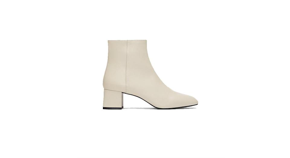 """<p>Black boots are overrated, why not make a gorgeous cream pair your autumn shoe purchase? Just be sure to avoid the mud… <br><a rel=""""nofollow noopener"""" href=""""https://www.zara.com/uk/en/leather-high-heel-ankle-boots-p17137301.html?v1=6835629&v2=1074625"""" target=""""_blank"""" data-ylk=""""slk:Buy here."""" class=""""link rapid-noclick-resp"""">Buy here.</a> </p>"""