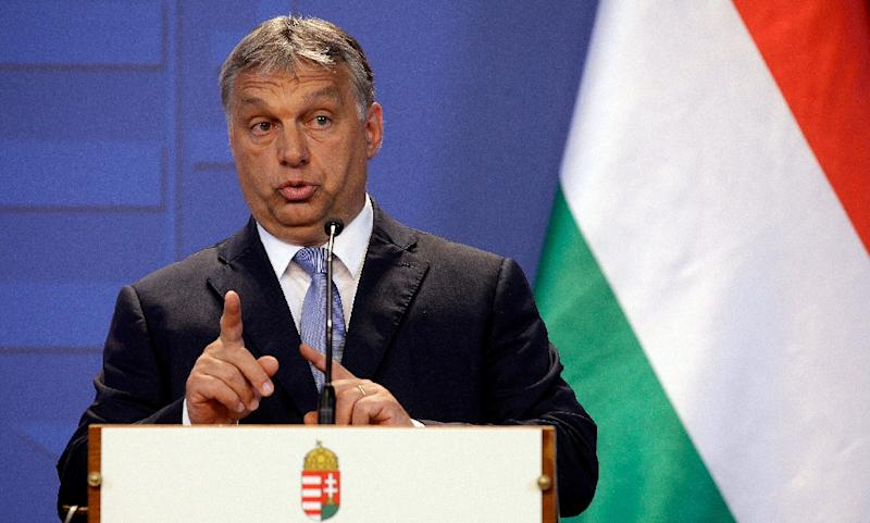 Hungarian Prime Minister Viktor Orban during a joint press conference with the Austrian Chancellor, in Budapest on July 26, 2016 (AFP Photo/Peter Kohalmi)