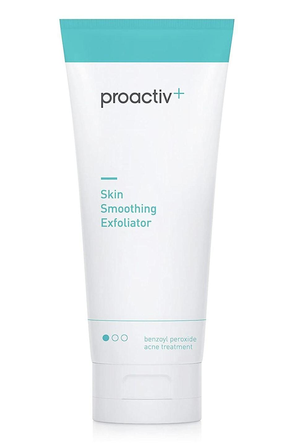 """<p><strong>Proactiv</strong></p><p>ulta.com</p><p><strong>$40.00</strong></p><p><a href=""""https://go.redirectingat.com?id=74968X1596630&url=https%3A%2F%2Fwww.ulta.com%2Fskin-smoothing-exfoliator%3FproductId%3DxlsImpprod14651013&sref=https%3A%2F%2Fwww.cosmopolitan.com%2Fstyle-beauty%2Fbeauty%2Fg33369976%2Fbest-benzoyl-peroxide-products%2F"""" rel=""""nofollow noopener"""" target=""""_blank"""" data-ylk=""""slk:Shop Now"""" class=""""link rapid-noclick-resp"""">Shop Now</a></p><p>This benzoyl peroxide <a href=""""https://www.cosmopolitan.com/style-beauty/beauty/a53481/how-to-exfoliate-your-face/"""" rel=""""nofollow noopener"""" target=""""_blank"""" data-ylk=""""slk:exfoliator"""" class=""""link rapid-noclick-resp"""">exfoliator</a> legit does it all. The creamy formula deep-cleans skin, <strong>eliminates dead skin with little tiny exfoliating beads and glycolic acid</strong>, and kills bad bacteria with 2.5 percent benzoyl peroxide. Rub it over your shoulders, back, butt—wherever you get body acne—let it sit for 30 seconds, then rinse.</p>"""