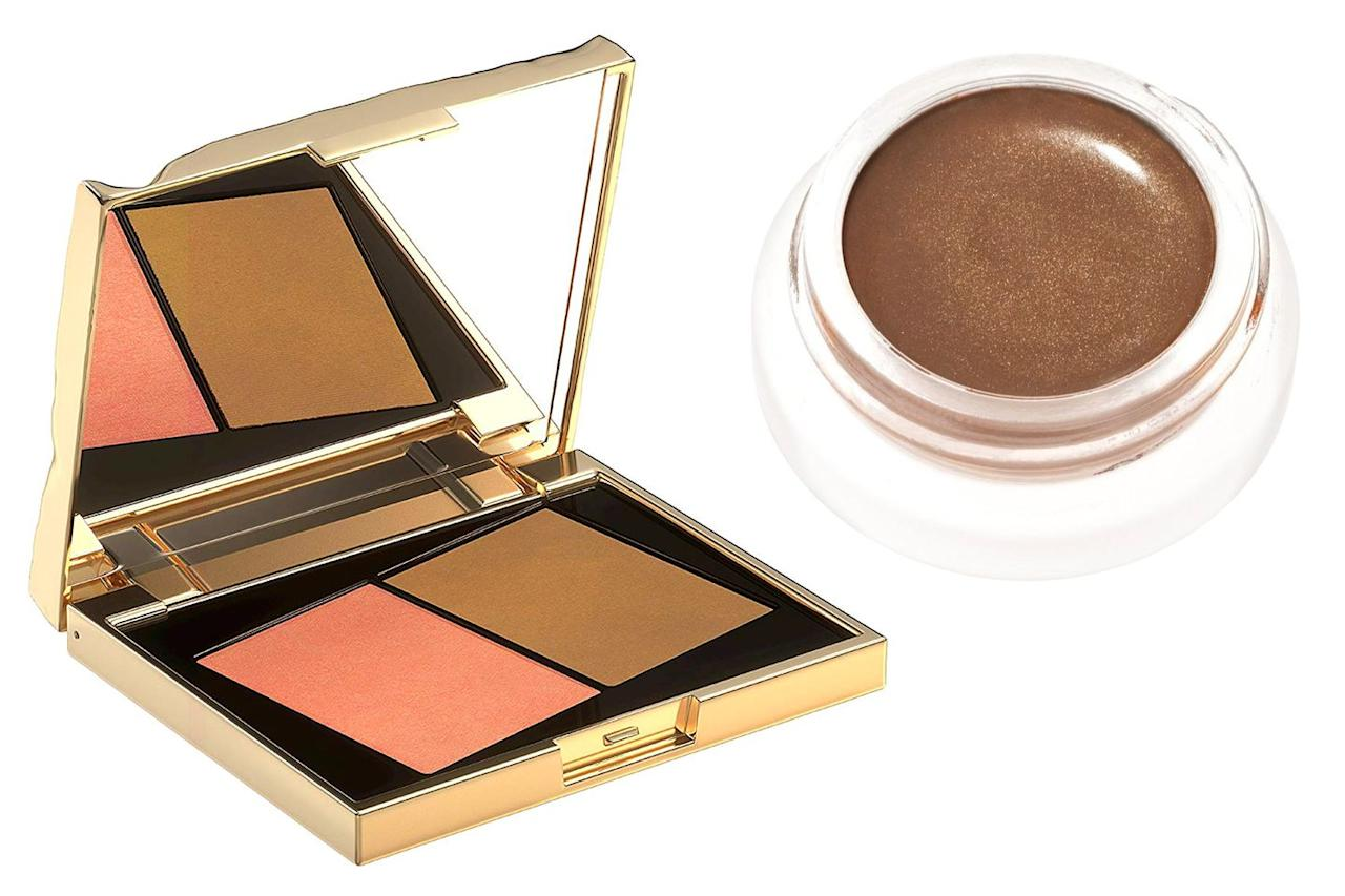"""<p>Shimmering bronzer found redemption in the last few years thanks to advances in how we treat shimmer. Nowadays, formulations are so finely milled that you can have radiance with your skintone warming powder without chunky glitter. Most days, I will reach for either RMS Buriti Bronzer (it's sheer and a cream formula for nearly bare-faced days) or my very favorite Smith & Cult Book of Sun Blush Bronzer Poudre (it's warming, but not orange) for the most subtle sunkisses across my forehead, on my cheekbones and through my crease to pull the look together. It's instantly polishing. <strong>Just remember, if you are using cream blush and highlighter, powder comes last.</strong></p><p> <a class=""""body-btn-link"""" href=""""https://www.amazon.com/Smith-Cult-Bronzer-Poudre-Golden/dp/B0711LL6T3"""" target=""""_blank"""">Shop Now</a>  $40, Smith & Cult Book of Sun Blush Bronzer Powder <br></p><p><a class=""""body-btn-link"""" href=""""https://credobeauty.com/products/rms-beauty-buriti-bronzer?sscid=51k3_kg44"""" target=""""_blank"""">Shop Now</a> $28, RMS Beauty Buruti Bronzer </p>"""