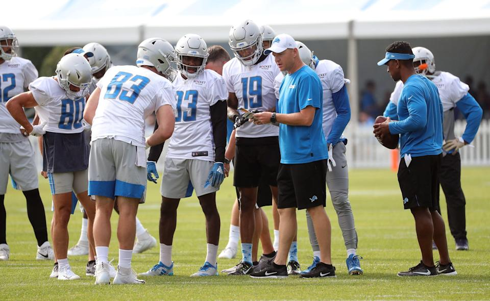 Lions offensive coordinator Darrell Bevell calls plays during practice during training camp on Friday, July 26, 2019, in Allen Park.