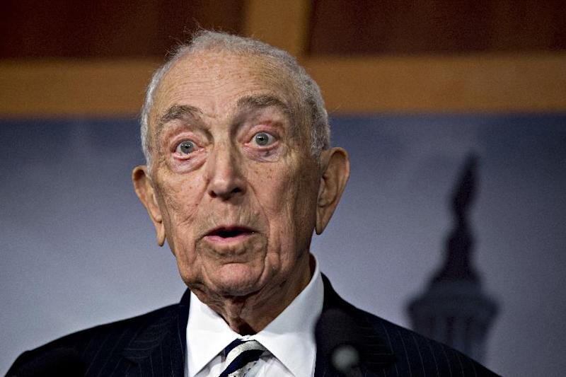 FILE - In this Jan. 28, 2013, file photo, Sen. Frank Lautenberg, D-N.J., speaks on Capitol Hill in Washington. Lautenberg, a multimillionaire New Jersey businessman and liberal who was called out of retirement for a second tour of duty in Congress, has died at age 89.  (AP Photo/J. Scott Applewhite, File)