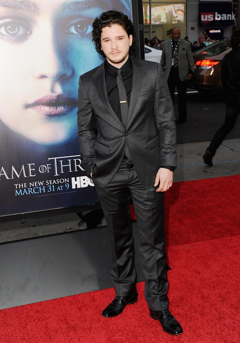 Kit Harington, who plays Jon Snow, at the premiere of Game of Thrones season three in Los Angeles, California, March 2013.
