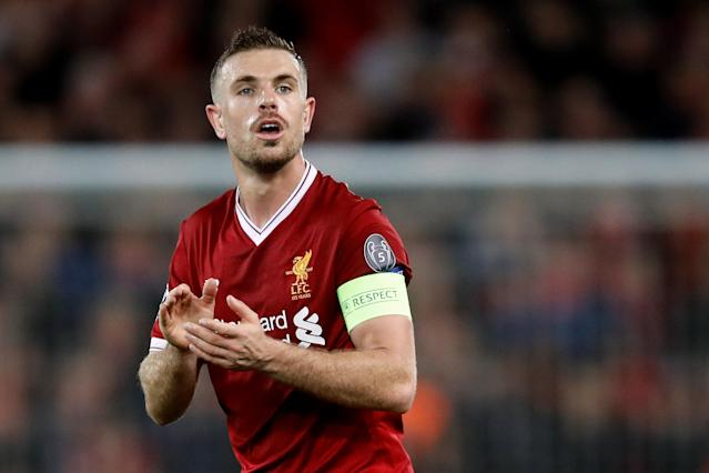 Soccer Football - Champions League Semi Final First Leg - Liverpool vs AS Roma - Anfield, Liverpool, Britain - April 24, 2018 Liverpool's Jordan Henderson Action Images via Reuters/Carl Recine