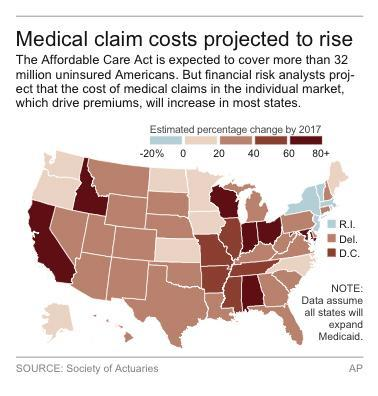 Map shows projected change in medical claim costs by