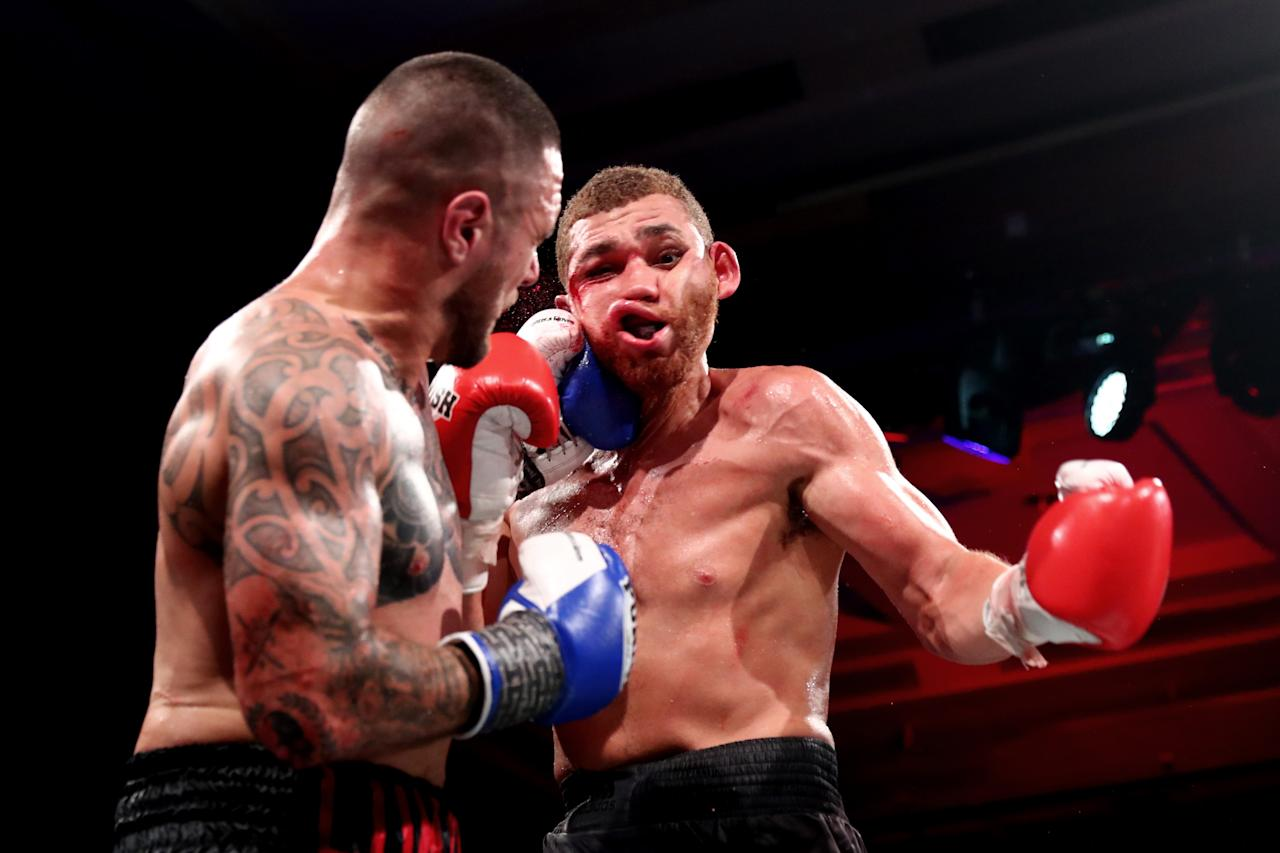 Ben Kelleher punches Patrick Lara in the Cruiserweight bout during 5 Star boxing at The Star on June 08, 2019 in Gold Coast, Australia. (Photo by Chris Hyde/Getty Images)