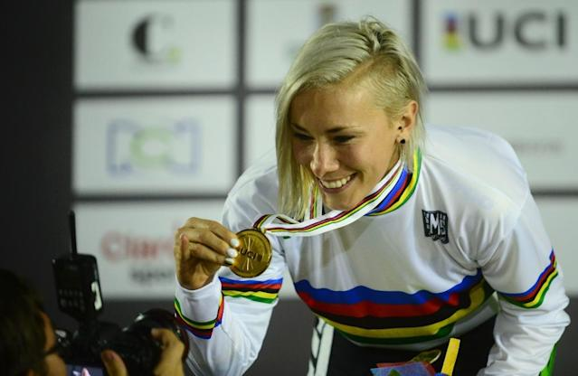 Caroline Buchanan, a five-time mountain bike world champion who has also won the BMX world title three times, said her lungs had collapsed and she had broken her sternum and nose in a car crash (AFP Photo/RAUL ARBOLEDA)